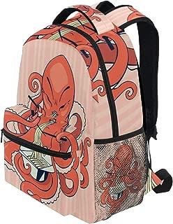 KVMV A Cartoon Octopus Eating Asian Noodles Chopsticks Tentacles Retro Style Bag