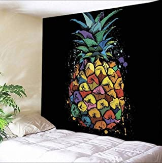 Colorful Pineapple Tapestry for Men Wall Hanging, Psychedelic Hippie Trippy Tapestries Tropical Wall Bedroom Home Decor, 80 X 60, Large