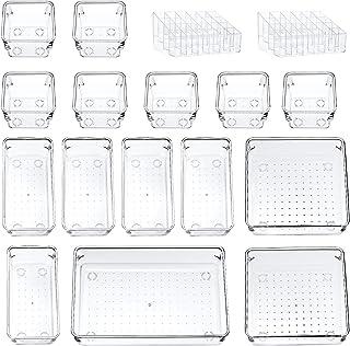 17 Pack organisateur de tiroir de bureau boîtes de rangement polyvalentes étagère de rangement pour rouge à lèvres organis...