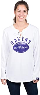 Icer Brands NFL Baltimore Ravens Women's Fleece Sweatshirt Lace Long Sleeve Shirt, Large, White