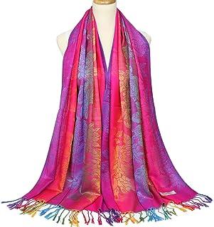 Colorful flowers Jacquard cotton pashmina Women Wrap Shawl tassels Scarves