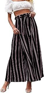 Simplee Women's Elegant Striped Split High Waisted Belted Flowy Wide Leg Pants