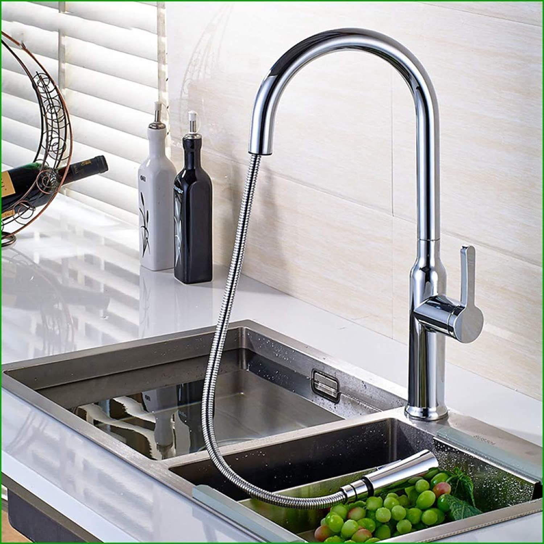 GONGFF Wasserhahn alle Kupfer Chrom ziehen drehen Spülbecken Wasserhahn heies und kaltes Wasser Mischwasser Waschbecken Wasserhahn