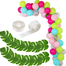 109 Pieces DIY Party Balloons Garland Blue Hotpink Green Confetti Balloons with Tropical Artificial Leaves and Balloon Strip Set for Birthday Hawaii Beach Party Supplies