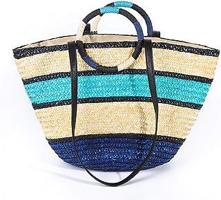 GSERA Frauen Geflochtene Regenbogen Strand Handtasche Bambus Umhängetasche Gewebte Stroh Umhängetasche Quaste Einkaufstasche