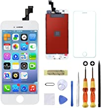 Goldwangwang Touch Screen Digitizer Replacement Fully Frame Display Assembly Set with Repair Toolkit + Screen Protector + Instructions for iPhone 5S(White)