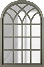 Everly Hart Collection Distressed GrayFarmhouse Cathedral Windowpane Wall Mounted Mirror, Gray