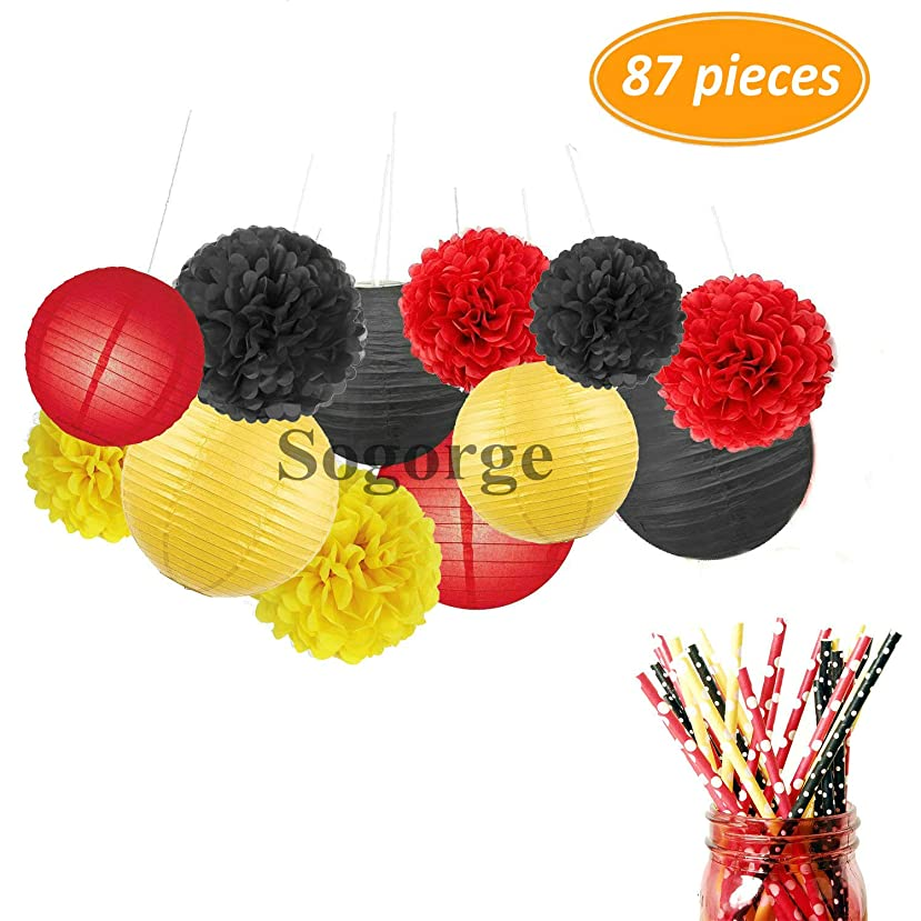 Yellow Red Black Colors Party Decorations Paper Flower Ball Tissue Paper Pom Pom Paper Lanterns Polka Dot Red Yellow Black Paper Straw for Birthday Decoration Baby Shower Decor Party Supplies
