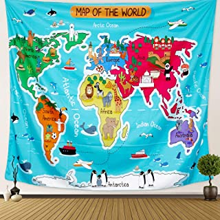 Anwiner Animal World Map Tapestry Ocean Map Colorful Psychedelic Tapestry Wall Hanging Art for Living Room Bedroom Dorm Home Decor 59X51