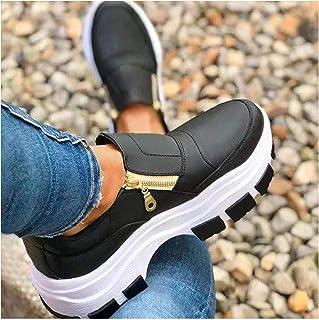 Chaussures de mode simples pour femme, baskets confortables avec fermeture éclair latérale, chaussures décontractées respi...