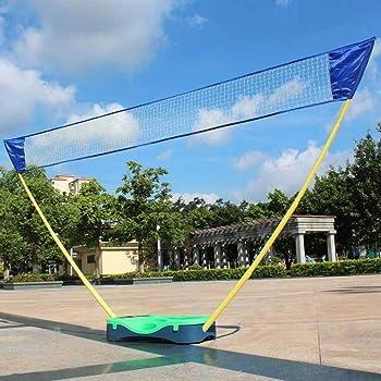 hlc 3 in 1 Outdoor Folding Adjustable Badminton Set,Tennis, Badminton, Volleyball Net with Stand, Battledore