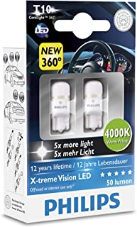 Pack of 2 Xtreme Vision 360 X treme Ultinon Philips W5W T10 194 168 LED Bulbs (4000K) more light than conventional Interior Lighting, Provides Huge Lifetime