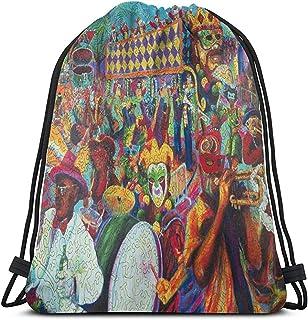 Mochila con Cordón,Drawstring Bolsa De Gimnasio,Mardi Gras Colorful Art Painting Women/Men Gym Bag,Bolsas Cinch Portátiles para Deporte,Gimnasio,Viajes,Camping,Al Aire Libre