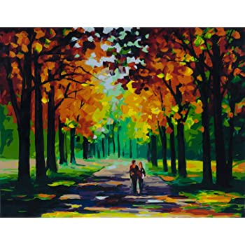 YXQSED 16x20 Inch Framless DIY Oil Painting Paint by Number Kit for Adults Kids-Romantic Love Autumn 5