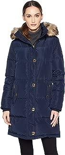 Womens Button Front Down Coat Faux Fur Trim Hood M823896G