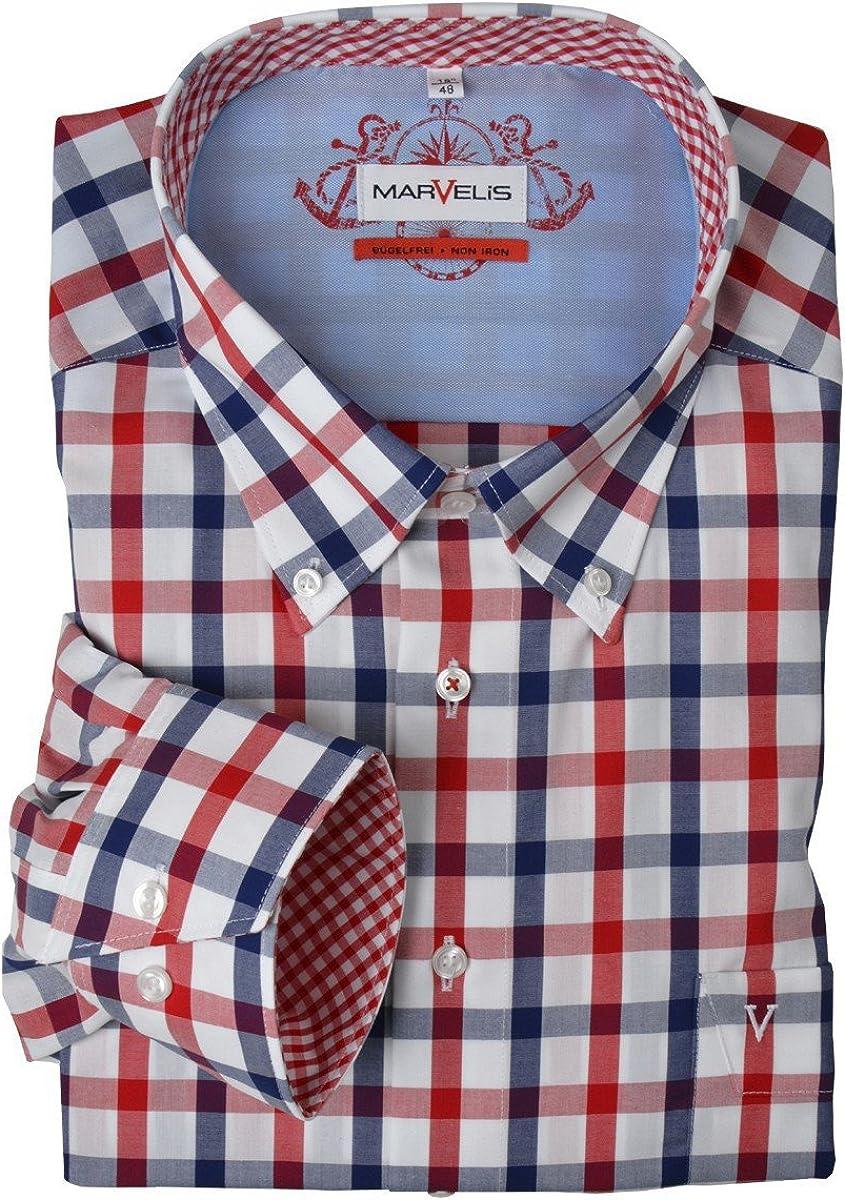Marvelis Camisa de Manga Larga sin Plancha Rojo-Azul-Blanco ...