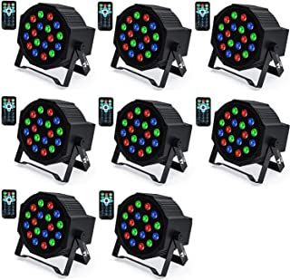 Uplights 18 RGB Led UpLights, Missyee Sound Activated DMX Uplighting, LED Par Can Lights with Remote Control, DJ Uplightin...