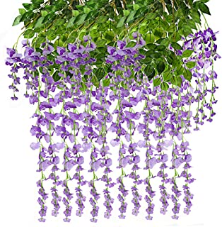 CEWOR 12pcs Artificial Wisteria Hanging Vine Fake Flower Silk Wisteria Vine Fake Silk Flowers in Natural Chain Garland for Wedding Ceremony Arch Party Home Garden Decor (Purple)