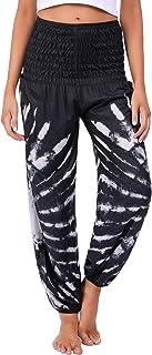 Pantalones de Yoga para Mujer Largos, Elásticos Cintura Alta Bohemio pantalón de Estampados con Bolsillos, Bombachos Mujer Verano