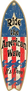 (SJT41329) Ride the American Wave It's Free 5 x 16 Surfboard Wood Plaque Sign