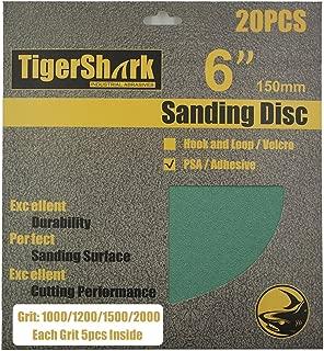 TigerShark 6inch No Hole 20pcs Film Sanding discs Adhesive back(PSA) Wet & Dry Grit 1000/1200/1500/2000 5 Pcs Each Assortment