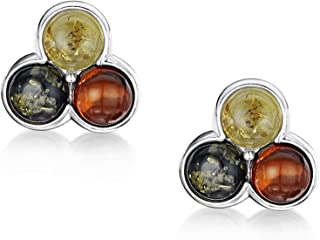 Amberta 925 Sterling Silver with Genuine Baltic Amber - Earrings for Women - Studs with Various Stone Colours