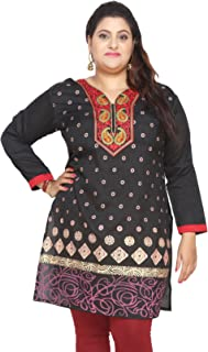 Plus Size India Tunic Long Top Kurti Embroidered Womens Apparel
