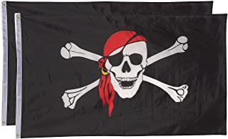 Juvale Pirate Flags - Pack of 2 Jolly Roger Pirate Flags - Skull and Crossbones with Red Bandana - Perfect for Pirate Parties - 3 x 5 Foot Flags with Grommets