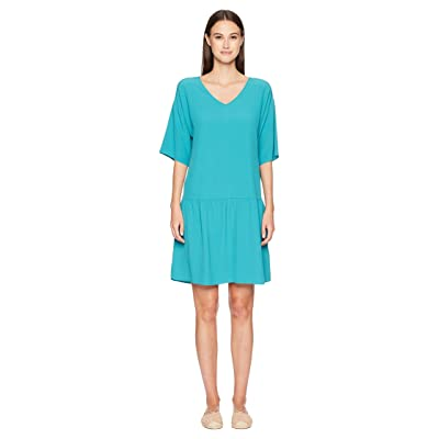 Eileen Fisher V-Neck Short Dress (Turquoise) Women