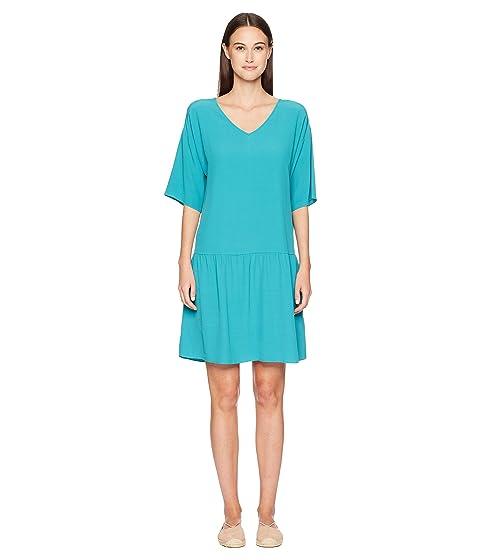 V-Neck Short Dress, Turquoise