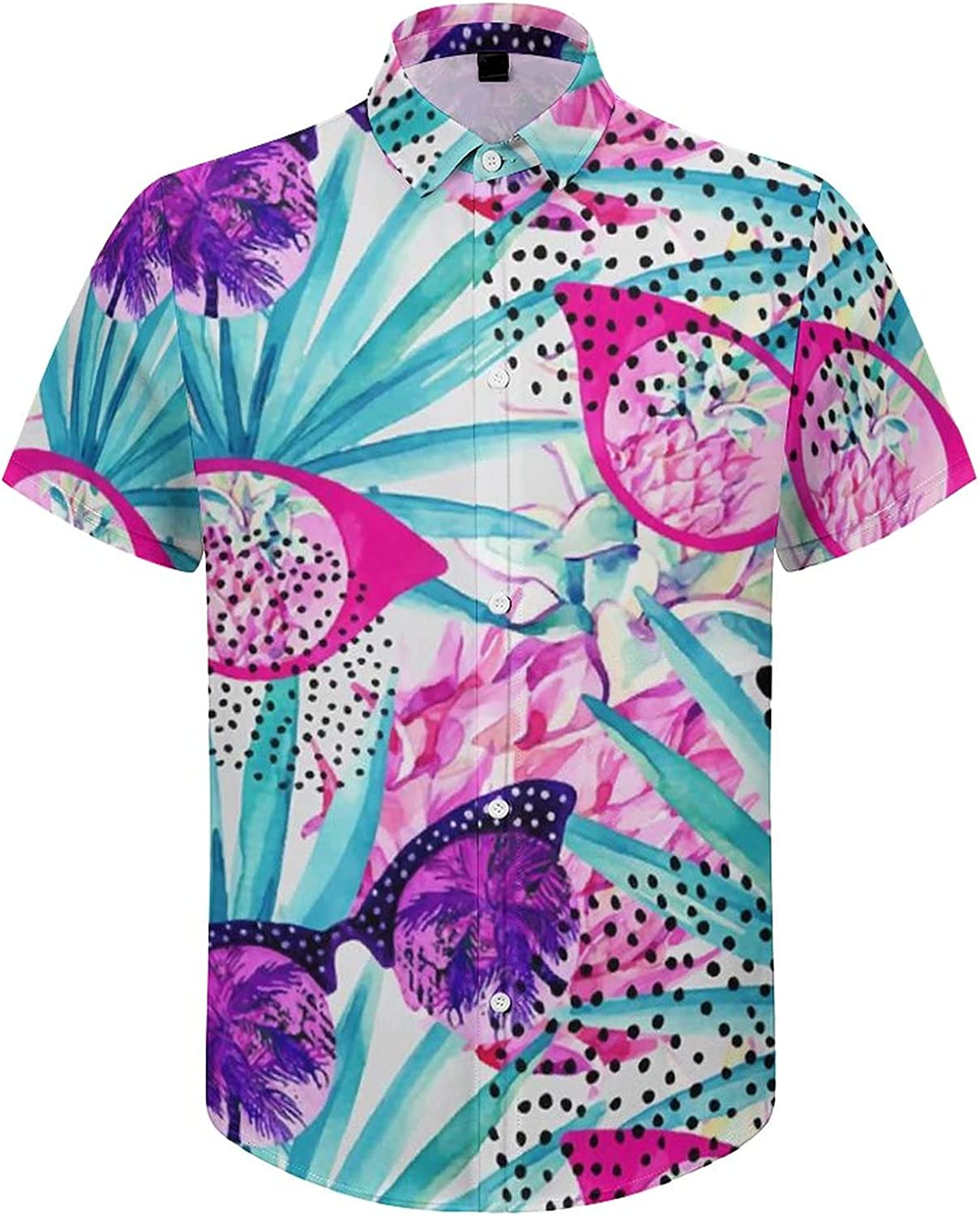 Men's Short Sleeve Button Down Shirt Sunglasses with Tropical Tree Summer Shirts