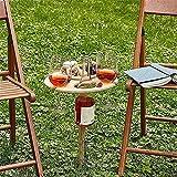 Mesa de vino plegable para playa, mesa de picnic portátil, estante para copas de vino, mesa plegable para exteriores, jardín, viajes