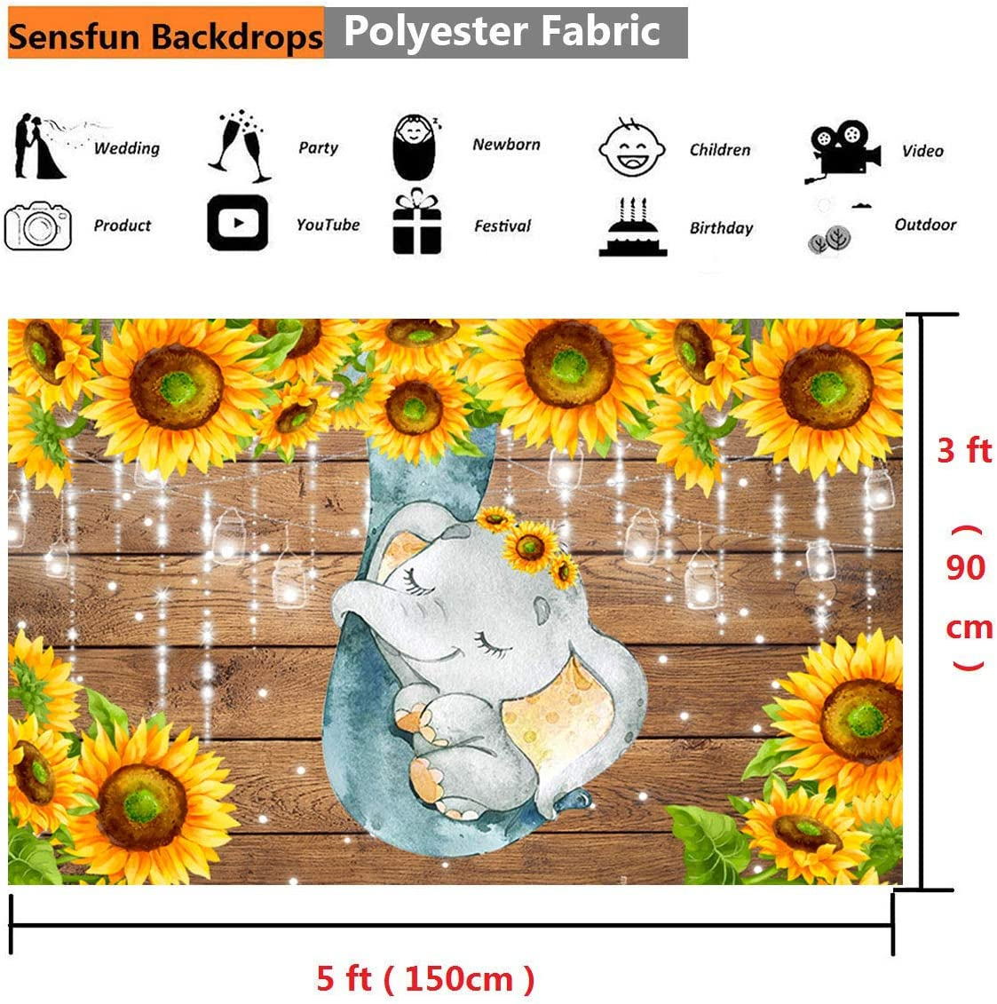Sensfun Fabric Sunflower Elephant Baby Shower Backdrop Rustic Wood Cute Sleeping Elephant Photography Background for Baby Boy Newborn Girls 1st Birthday Party Decoration Photo Booth Shoot Props 7x5FT