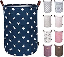 Almand Foldable Bucket Round Fabric Hamper Cloths Toys Storage Laundry Organizer Bag with Handle-Multi Color and Design (44 Litre)