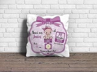 Cojín Bebe Recien Nacido Niña Rosa con Nombre 100% Personalizado 30 x 30 cm