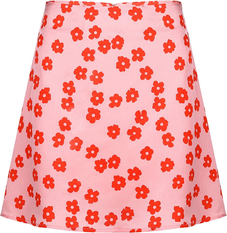 renvena Women's Casual Floral Print Zipper High Waist Mini Short Skirt with Lining