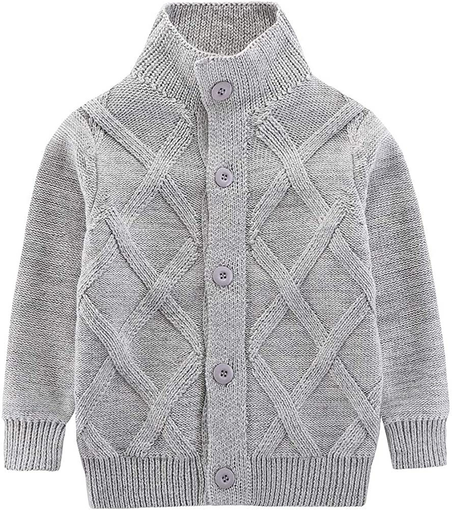 Motteecity Boys Clothes Solid Stand Collar Woollen Warm Sweater Cardigan: Clothing