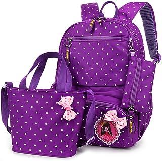 MCUILEE 3pcs Pois Bambini Libro di Scuola Dello Zaino Del Sacchetto + ragazza borsetta + borse matita,Viola