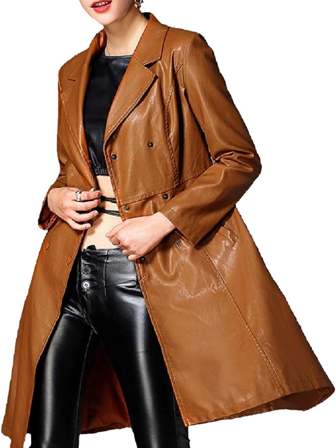 Womens Simple Size Large Length Knee Textured Faux Leather Jackets