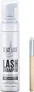 200ml BIG Eyelash Extension Shampoo Stacy Lash + Brush/Eyelid Foaming Cleanser/Wash for Extensions and Natural Lashes/Paraben & Sulfate Free Safe Makeup & Mascara Remover/Professional & Self Use