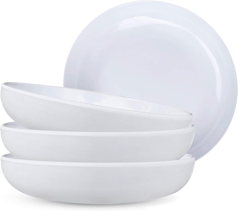Melamine Pasta Bowls / Shallow Salad Bowls / Plastic Dinner Deep Plates (9 Inches,30 Oz,Set of 4,White) – Dishwasher Safe, Unbreakable, Reusable & BPA Free - Kids, Toddlers, Children, Adults & Elderly