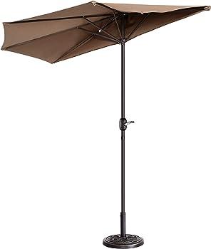 Villacera 9-ft Patio Outdoor Half 5 Ribs Fade Resistant Condo Umbrella