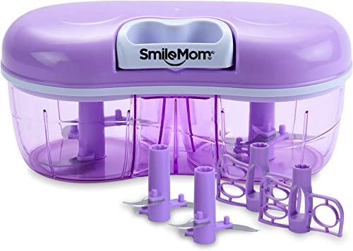 Smile Mom Twin Plastic Handy Vegetable Chopper Cutter Mixer Set for Kitchen 4 Interchangeable Blade Violet 1500 ML