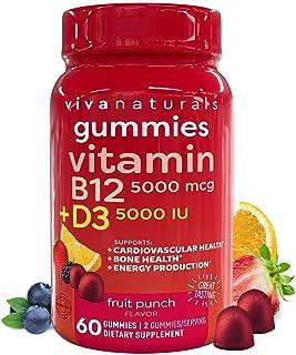 Vitamin B12 5000mcg and Vitamin D3 5000 IU Gummies, 60 Count   Delicious Fruit Punch Flavor, Vitamin D and Methyl B12 Vita...