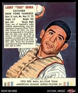 1952 Red Man # 3 AL Yogi Berra New York Yankees (Baseball Card) (With Tab) Dean's Cards 2 - GOOD Yankees
