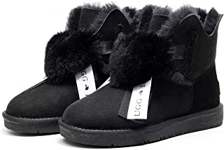 Best Gift Choice UGG Pom Pom Boot- Premium Australian Sheepskin, Anti-Slip, Super Warm and Comfort