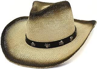XinLin Du 2019 Straw Western Cowboy Hat Spray Paint Straw Hat Sun Hat Ladies Outdoor Beach Hat Hoe Rivet Punk Wind Visor