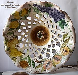 Lampadario diametro 45 centimetri Traforato Linea Frutti Misti coppetta a soffitto PARTI ELETTRICHE Ceramica Le Ceramiche ...
