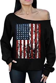 American Flag Distressed 4th July Off The Shoulder Oversized Sweater Sweatshirt