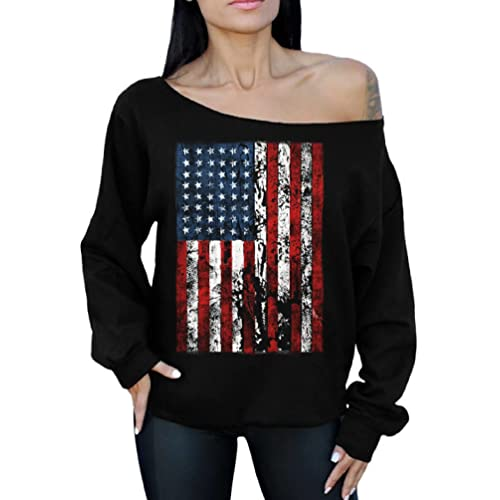 cca76038a75 Awkward Styles American Flag Distressed 4th July Off The Shoulder Oversized Sweater  Sweatshirt